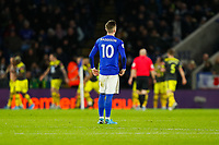 11th January 2020; King Power Stadium, Leicester, Midlands, England; English Premier League Football, Leicester City versus Southampton; James Maddison of Leicester City watches as Southampton players celebrate Danny Ings' goal after 81 minutes (1-2) - Strictly Editorial Use Only. No use with unauthorized audio, video, data, fixture lists, club/league logos or 'live' services. Online in-match use limited to 120 images, no video emulation. No use in betting, games or single club/league/player publications