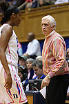 04 February 2016: Duke assistant coach Al Brown (right) talks to Amber Henson (left). The Duke University Blue Devils hosted the University of Virginia Cavaliers at Cameron Indoor Stadium in Durham, North Carolina in a 2015-16 NCAA Division I Women's Basketball game. Both teams wore pink as part of the annual Play4Kay game in support of the Kay Yow Cancer Fund. Duke won the game 67-52.
