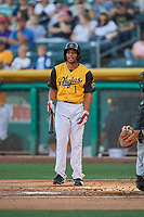 Ben Revere (1) of the Salt Lake Bees bats against the New Orleans Baby Cakes at Smith's Ballpark on June 11, 2018 in Salt Lake City, Utah. New Orleans defeated Salt Lake 6-5.  (Stephen Smith/Four Seam Images)