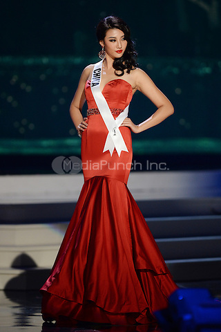 MIAMI, FL - JANUARY 21: Miss China Yanliang Hu competes in the The 63rd Annual Miss Universe Preliminary Competition and National Costume Show, held at U.S. Century Bank Arena, Florida International University on January 21, 2015 in Miami, Florida.  Credit: mpi04/MediaPunch ***NO NY DAILIES OR NEWSPAPERS***