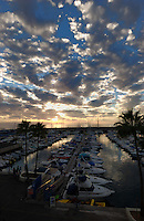 Palm trees, yachts and boats against spectacular cloud formation at dusk, island of La Gomera to the right, Puerto Colon harbour, Playa de las Americas, Tenerife, Canary Islands.