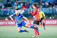 Boston, MA - Sunday May 07, 2017: Adriana Leon and Sabrina D'Angelo during a regular season National Women's Soccer League (NWSL) match between the Boston Breakers and the North Carolina Courage at Jordan Field.