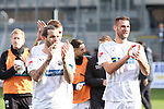 Dennis Diekmeier (Nr.18, SV Sandhausen) und Ivan Paurevic (Nr.29, SV Sandhausen) nach dem Spiel  beim Spiel in der 2. Bundesliga, SV Sandhausen - FC St. Pauli.<br /> <br /> Foto © PIX-Sportfotos *** Foto ist honorarpflichtig! *** Auf Anfrage in hoeherer Qualitaet/Aufloesung. Belegexemplar erbeten. Veroeffentlichung ausschliesslich fuer journalistisch-publizistische Zwecke. For editorial use only. For editorial use only. DFL regulations prohibit any use of photographs as image sequences and/or quasi-video.