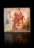 "Fresco of Venus sitting restored as Roma  known as the ""Dea Barberini"" (""Barberini goddess""), dating from the first quarter of the fourth century. A.D, excavated near to Baptistery of St. John Lateran , Rome Museo Nazionale Romano ( National Roman Museum), Rome, Italy. Against a black background."