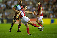 Gordon Ross of London Welsh sends up a high ball during the Aviva Premiership match between Harlequins and London Welsh at the Twickenham Stoop on Friday 7th September 2012 (Photo by Rob Munro)