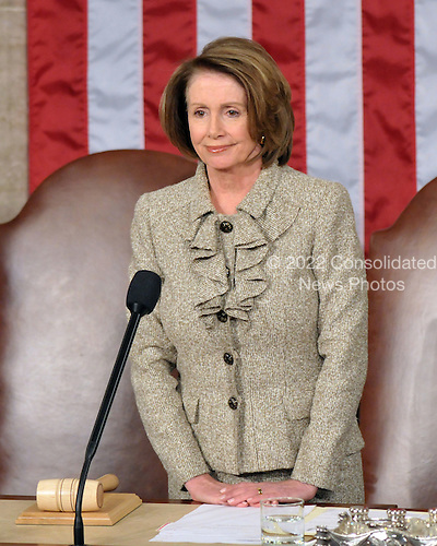 Washington, DC - March 4, 2009 -- Speaker of the United States House of Representatives Nancy Pelosi (Democrat of California) awaits the arrival of Prime Minister Gordon Brown of the United Kingdom who will address a Joint Session of the U.S. Congress in the U.S. Capitol in Washington, D.C. on Wednesday, March 4, 2009..Credit: Ron Sachs / CNP