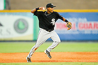 Second baseman Daurys Mercedes #18 of the Bristol White Sox makes a throw to first base against the Burlington Royals at Burlington Athletic Park on July 10, 2011 in Burlington, North Carolina.  The White Sox defeated the Royals 4-3.   (Brian Westerholt / Four Seam Images)