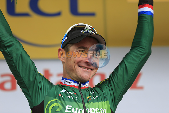 Thomas Voeckler (FRA) Team Europcar takes the combativity prize at the end of Stage 4 of the 2014 Tour de France running 163.5km from Le Touquet to Lille. 8th July 2014.<br /> Picture: Eoin Clarke www.newsfile.ie