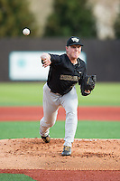 Wake Forest Demon Deacons starting pitcher Christian Bartholomew (35) in action against the Charlotte 49ers at Hayes Stadium on March 16, 2016 in Charlotte, North Carolina.  The 49ers defeated the Demon Deacons 7-6.  (Brian Westerholt/Four Seam Images)