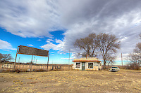 The Little Juarez Cafe in the ghost town of Glenrio Texas, on Route 66.
