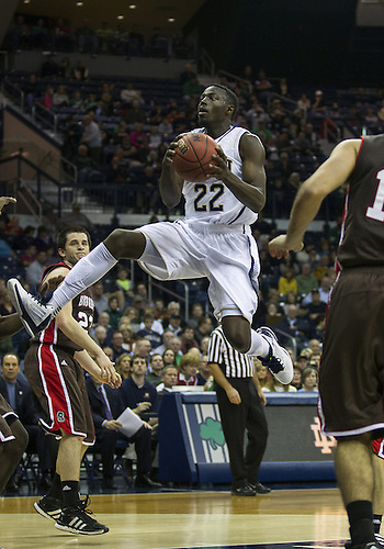 December 08, 2012:  Notre Dame guard Jerian Grant (22) goes up for a shot during NCAA Basketball game action between the Notre Dame Fighting Irish and the Brown Bears at Purcell Pavilion at the Joyce Center in South Bend, Indiana.  Notre Dame defeated Brown 84-57.