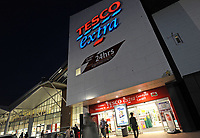 Tesco Extra supermarket in Cardiff, UK. Tesco is the UK's largest super-market and the second-largest retailer in the world measured by profits (after Wal-Mart).    24-Sept-2013.