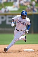 Round Rock Express LF Esteban German (6) roounds second base against the Iowa Cubs on April 10th, 2011 at Dell Diamond in Round Rock, Texas.  (Photo by Andrew Woolley / Four Seam Images)