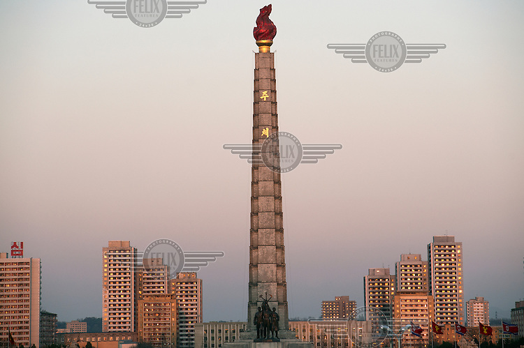 The Juche Tower (officially the Tower of the Juche Idea). The Juche Idea being Kim Il-sung's political philosophy....