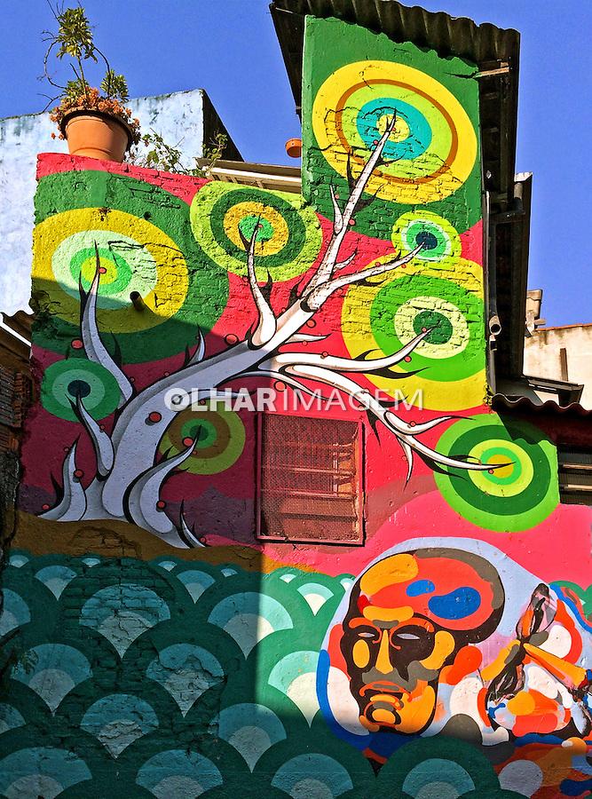 Parede com grafite em Vila Madalena. Sao Paulo. 2014. Foto de Juca Martins.