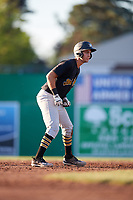 West Virginia Black Bears catcher Zach Susi (3) leads off second base during a game against the Batavia Muckdogs on July 3, 2018 at Dwyer Stadium in Batavia, New York.  Batavia defeated West Virginia 5-4.  (Mike Janes/Four Seam Images)