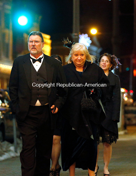 "Torrington, CT- 02 January 2016-010216CM09-  Caleb and Helen Cutler of New Hartford arrive dressed up for a preview of the premier of the PBS drama series ""Downton Abbey"" at the Warner Theatre in Torrington on Saturday.      Christopher Massa Republican-American"