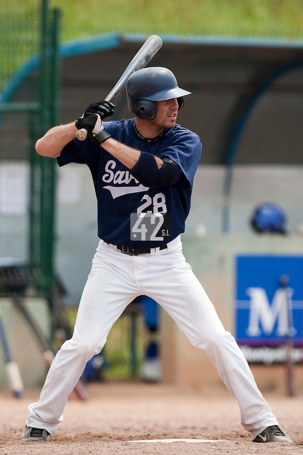 23 May 2009: Pierrick Lemestre of Savigny is seen at bat during the 2009 challenge de France, a tournament with the best French baseball teams - all eight elite league clubs - to determine a spot in the European Cup next year, at Montpellier, France. Savigny wins 4-1 over Senart.