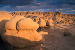 Stormy sunset over eroded rock forms at Goblin Valley State Park, near the San Rafael Swell region, UTAH