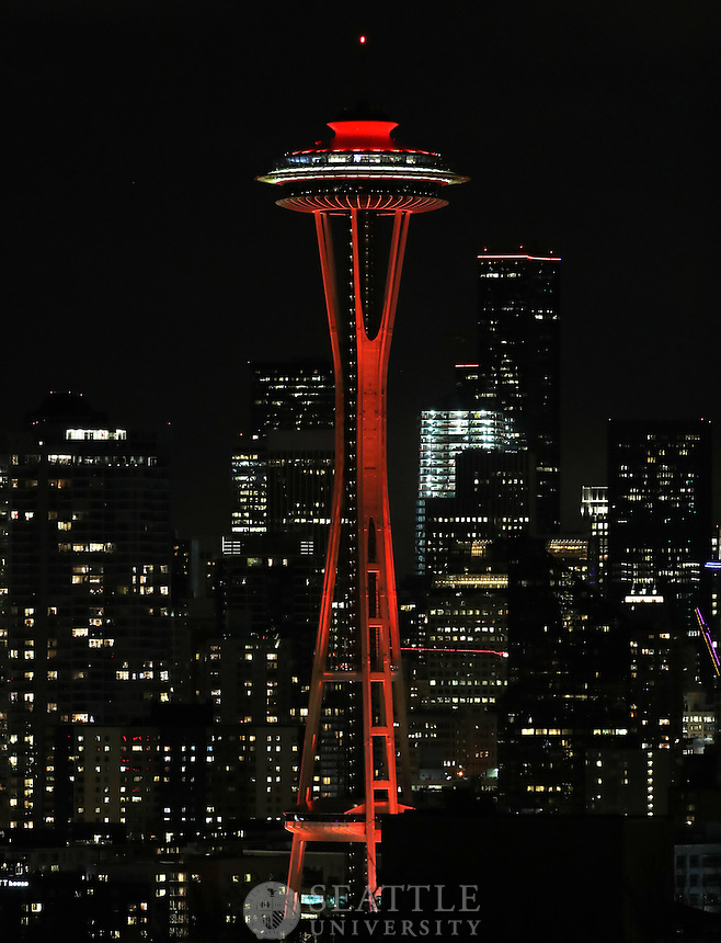 February 4th 2017 - The Seattle city skyline is lit up in RED for Seattle University Homecoming Weekend.