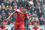 14.04.2019, Merkur Spiel-Arena, Duesseldorf, GER, DFL, 1. BL, Fortuna Duesseldorf vs FC Bayern Muenchen, DFL regulations prohibit any use of photographs as image sequences and/or quasi-video<br /> <br /> im Bild Kopfball / Kopfballduell David Kownacki (#27, Fortuna Duesseldorf) Javi Martinez (#8, FC Bayern M&uuml;nchen / Muenchen) <br /> <br /> Foto &copy; nph/Mauelshagen