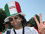 11 June 2006: An Iran fan gives the peace sign. Mexico played Iran at the Frankenstadion in Nuremberg, Germany in match 7, a Group D first round game, of the 2006 FIFA World Cup.