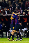 Luis Alberto Suarez Diaz of FC Barcelona celebrates with teammate Jordi Alba Ramos during the La Liga 2018-19 match between Rayo Vallecano and FC Barcelona at Estadio de Vallecas, on November 03 2018 in Madrid, Spain. Photo by Diego Gouto / Power Sport Images