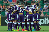 9th January 2018, nib Stadium, Perth, Australia; A League football, Perth Glory versus Melbourne City; Perth Glory huddle before the start of the match against Melbourne City