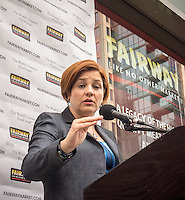 """NYC mayoral candidate and City Council Speak Christine Quinn speaks at Fairway supermarket in the Chelsea neighborhood of New York on its grand opening day, Wednesday, July 24, 2013. The store is the fifth in Manhattan and is an epicurean delight carrying olive oils, cheeses, sushi and their famous deli department. The Chelsea location puts the store in the middle of """"supermarket-ville"""" with Whole Foods, Gristedes and Trader Joe's all having locations in the immediate vicinity.(© Richard B. Levine)"""