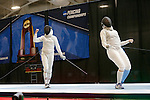 25 MAR 2016:  Ohio State's Eleanor Harvey battles with Columbia's Jackie Dubrovich in the women's foil event finals of the Division I Women's Fencing Championship held at the Gosman Sports and Convention Center in Waltham, MA.  Harvey defeated Dubrovich 15-10 for the national title. Damian Strohmeyer/NCAA Photos