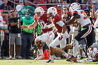Stanford, CA - November 5, 2016: Keller Chryst and Isaiah Brandt-Sims during  the Stanford vs Oregon State game at Stanford Stadium Saturday. <br /> <br /> Stanford won 26-15.