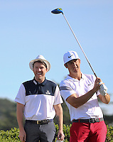 160211 Country singer Joe Don Rooney with partner Kevin Chappell during Thursday's First Round at The AT&T National Pro Am at The Monterey Peninsula CC in Carmel, California. (photo credit : kenneth e. dennis/kendennisphoto.com)