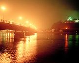 JAPAN, Kyushu, the Maizura Bridge and Karatsu Castle at night