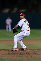 Springfield Cardinals relief pitcher Kodi Whitley (15) during a Texas League game against the Amarillo Sod Poodles on April 25, 2019 at Hammons Field in Springfield, Missouri. Springfield defeated Amarillo 8-0. (Zachary Lucy/Four Seam Images)