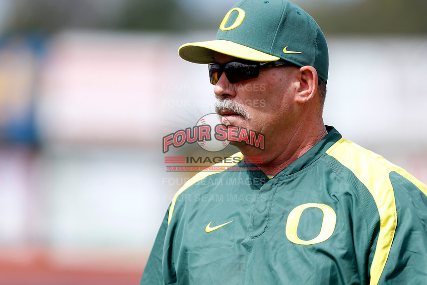 Oregon Ducks Head Coach George Horton #8 during a baseball game against the Cal State Fullerton Titans at Goodwin Field on March 3, 2013 in Fullerton, California. (Larry Goren/Four Seam Images)