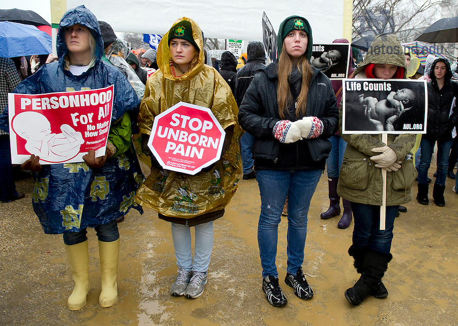 January 23, 2012; Notre Dame students at the 2012 March for Life in Washington, D.C. Photo by Barbara Johnston/University of Notre Dame
