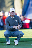 Thomas Pieters (Team Europe) on the 4th green during the Saturday morning Foursomes at the Ryder Cup, Hazeltine national Golf Club, Chaska, Minnesota, USA.  01/10/2016<br /> Picture: Golffile | Fran Caffrey<br /> <br /> <br /> All photo usage must carry mandatory copyright credit (&copy; Golffile | Fran Caffrey)
