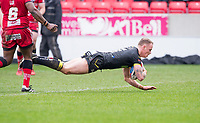 Picture by Allan McKenzie/SWpix.com - 07/04/2018 - Rugby League - Betfred Super League - Salford Red Devils v Warrington Wolves - AJ Bell Stadium, Salford, England - Warrington's Kevin Brown dives over for the game-sealing try against Salford.