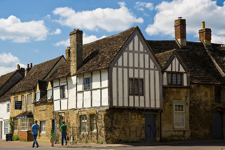 Tudor style timber frame houses in Lacock, Wiltshire, United Kingdom