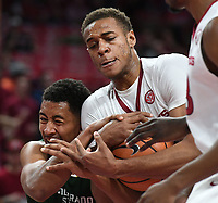NWA Democrat-Gazette/J.T. WAMPLER Arkansas' Daniel Gafford struggles for possession of the ball with Colorado State's Deion James Tuesday Dec. 5, 2017 at Bud Walton Arena in Fayetteville. The Hogs won 92-66 and play again at home Saturday against Minnesota.