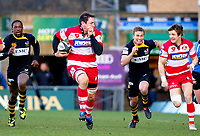 Gareth Delve sets off on a seering break, deep into Wasps territory. Guinness Premiership match between London Wasps and Gloucester on March 7, 2010 at Adams Park in High Wycombe, England. [Mandatory Credit: Patrick Khachfe/Onside Images]