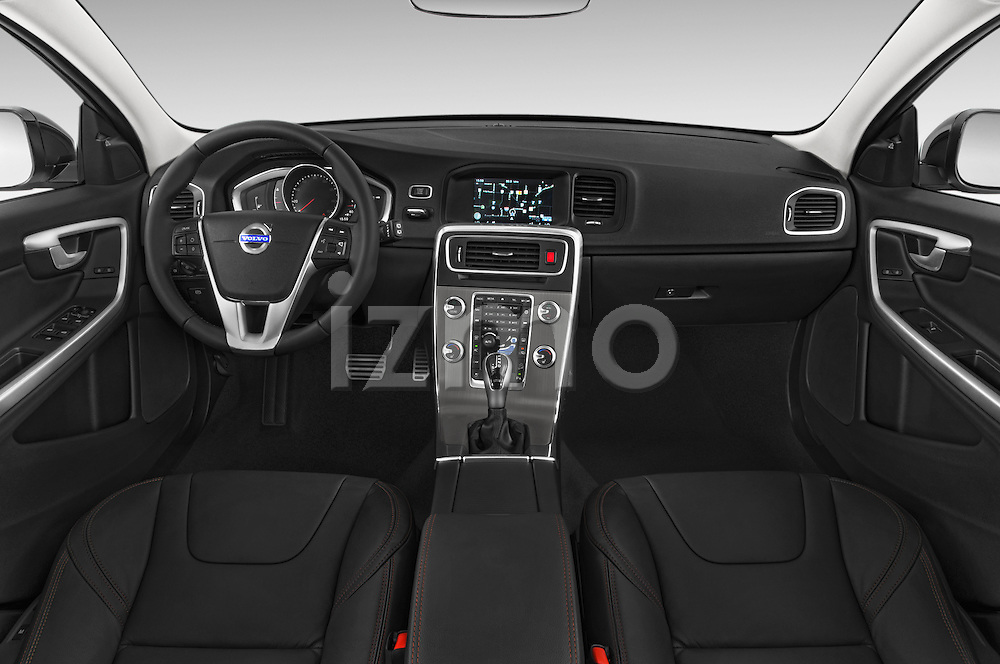 Stock photo of straight dashboard view of a 2015 Volvo V60 T5 Cross Country AWD 4 Door Wagon Dashboard