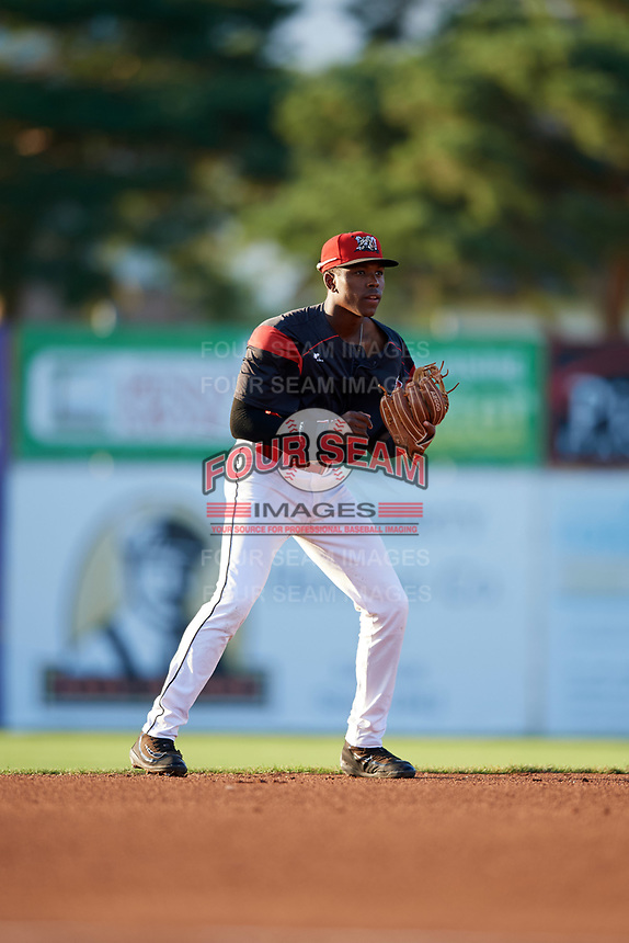 Batavia Muckdogs shortstop Demetrius Sims (55) during a game against the Mahoning Valley Scrappers on August 18, 2017 at Dwyer Stadium in Batavia, New York.  Mahoning Valley defeated Batavia 8-2.  (Mike Janes/Four Seam Images)