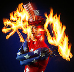 Performing artist Amber Joy Rava in a pariotic red, white and blue pose for the fourth of July burst of color.