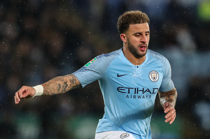 Manchester City's Kyle Walker<br /> <br /> Photographer Andrew Kearns/CameraSport<br /> <br /> English League Cup - Carabao Cup Quarter Final - Leicester City v Manchester City - Tuesday 18th December 2018 - King Power Stadium - Leicester<br />  <br /> World Copyright © 2018 CameraSport. All rights reserved. 43 Linden Ave. Countesthorpe. Leicester. England. LE8 5PG - Tel: +44 (0) 116 277 4147 - admin@camerasport.com - www.camerasport.com