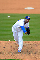 Chattanooga Lookouts pitcher Hector Nelo #45 during a game against the Birmingham Barons on April 17, 2013 at AT&T Field in Chattanooga, Tennessee.  Chattanooga defeated Birmingham 5-4.  (Mike Janes/Four Seam Images)