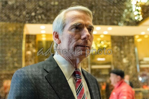 United States Senator Robert Portman (Republican of Ohio) is seen upon his arrival at Trump Tower in New York, NY, USA on December 14, 2016. Photo Credit: Albin Lohr-Jones/CNP/AdMedia