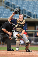 Caleb Raleigh (29) of Smoky Mountain High School in Cullowhee, North Carolina playing for the Cleveland Indians scout team during the East Coast Pro Showcase on July 31, 2014 at NBT Bank Stadium in Syracuse, New York.  (Mike Janes/Four Seam Images)