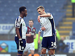 Saido Berahino of West Bromwich Albion and Darren Fletcher of West Bromwich Albion talk tactics - Barclays Premier League - Burnley vs West Bromwich Albion - Turf Moor Stadium  - Burnley - England - 8th February 2015 - Picture Simon Bellis/Sportimage
