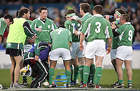Irish skills coach Derek Suffern gives his players some advice during the Division A U19 World Championship clash against Australia at Ravenhill.